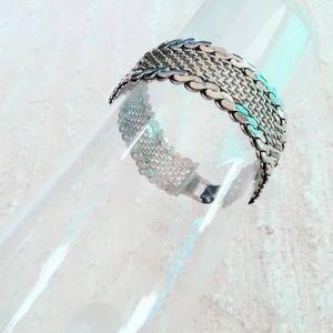 Silver Tone Braided Vintage Bracelet